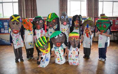 Jamaican Rudeboys bighead costumes