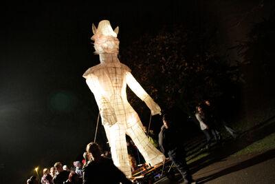 Giant Wolf lantern, Goole Bonfire 2011