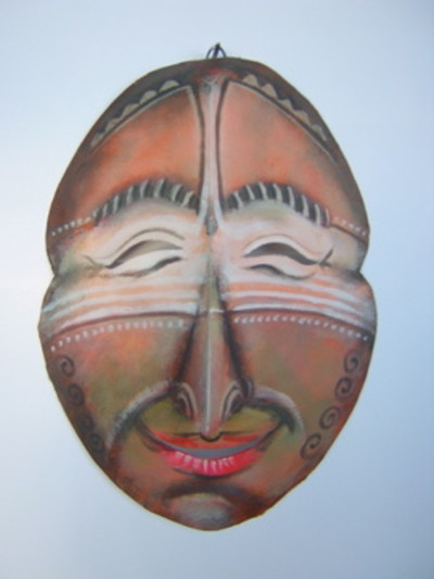 African sculpture style mask - happy face