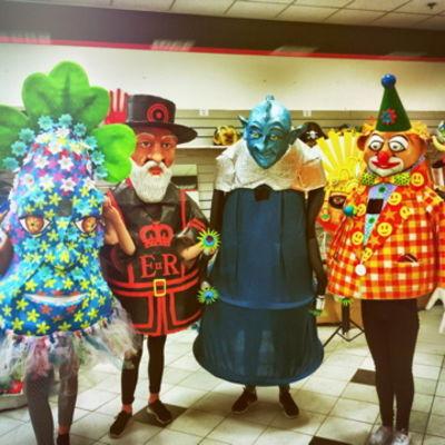 Mrs Flowers, Uncle Tudor, Alien Airman, LudiKruss Clown