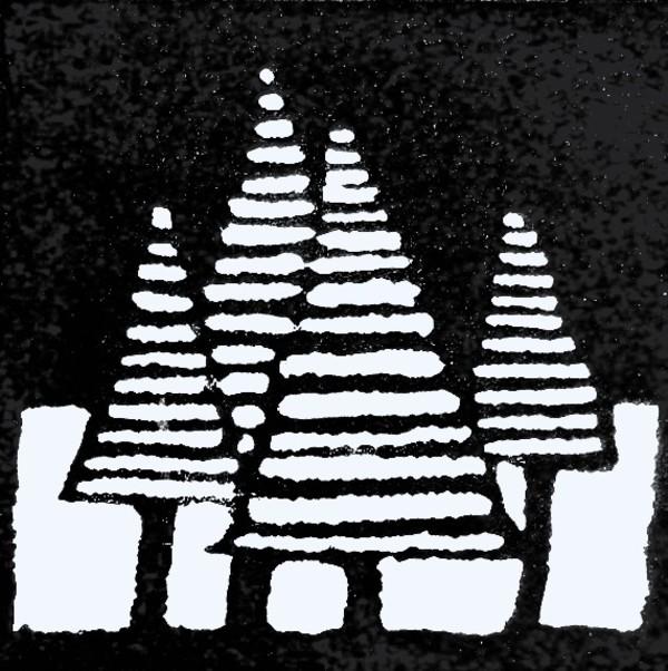 Christmas trees linocut