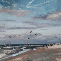 Wind ,rough sea and kites Katwyjk Holland