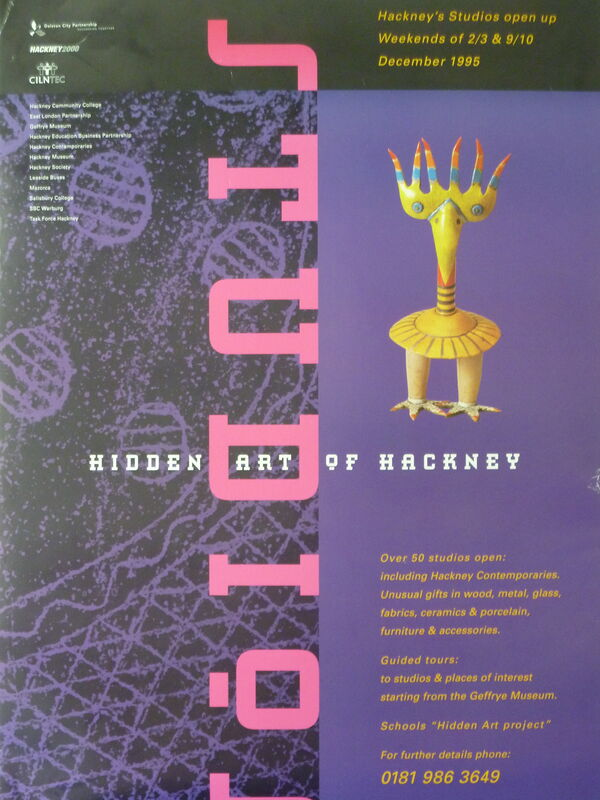 poster for Hidden Art of Hackney - 'bird in fishnet gloves'