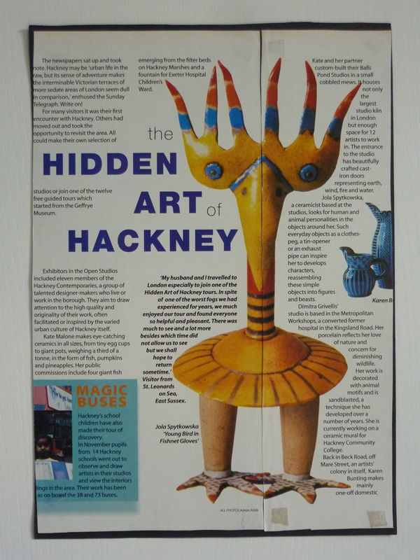 Newspaper - Hackney Today - 'bird in fishnet gloves'