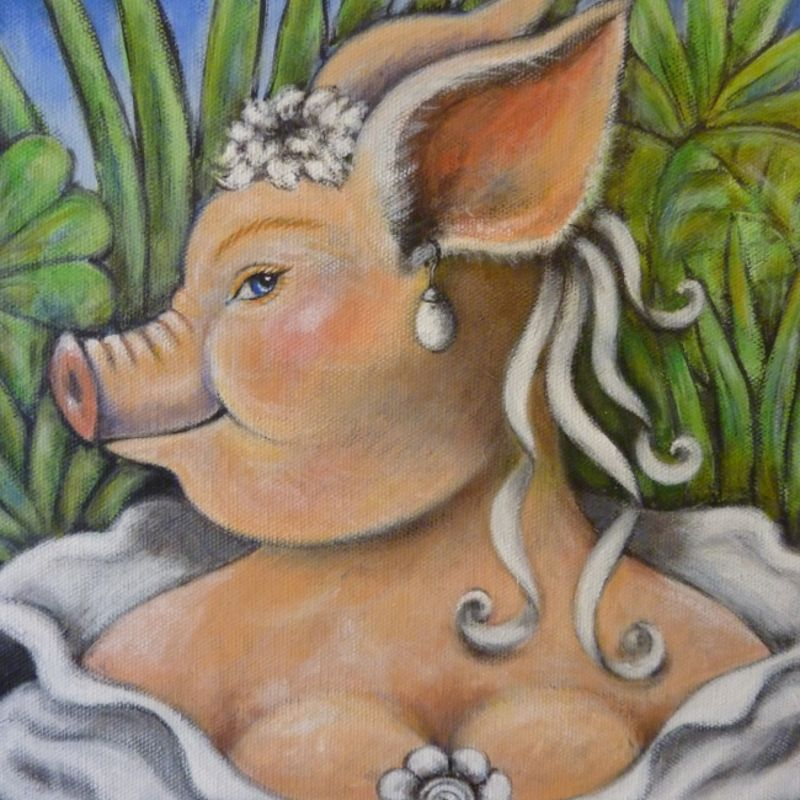 pig with a pearl earring