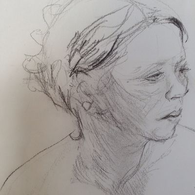 Detail of life drawing woman side view