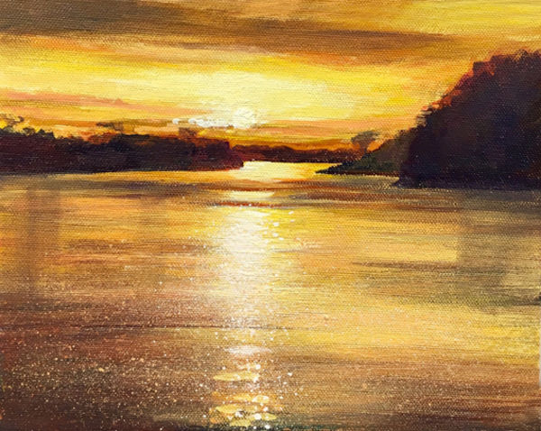 Sunset on the River Rhine Day 268 SOLD