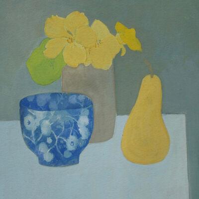 Blue bowl and Nasturtiums