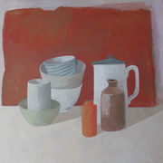 Eight objects, red  background