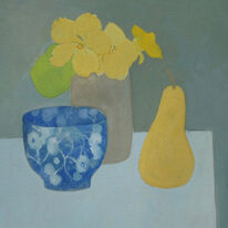Blue bowl and Nasturtiums