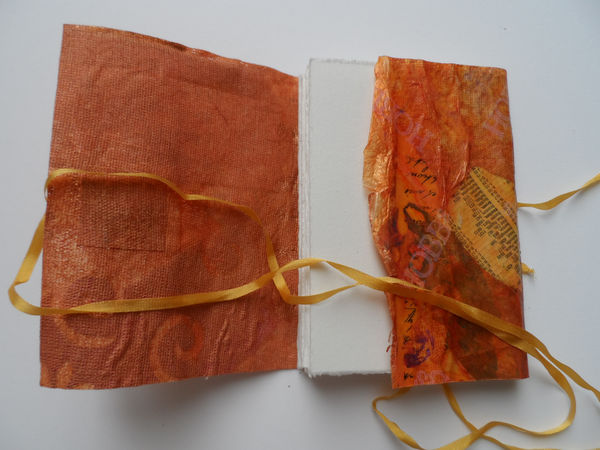 Handmade paper cover cover, pamphlet stitch binding, ribbon and button close