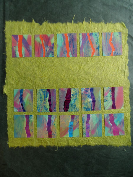 Collage of painted and printed papers