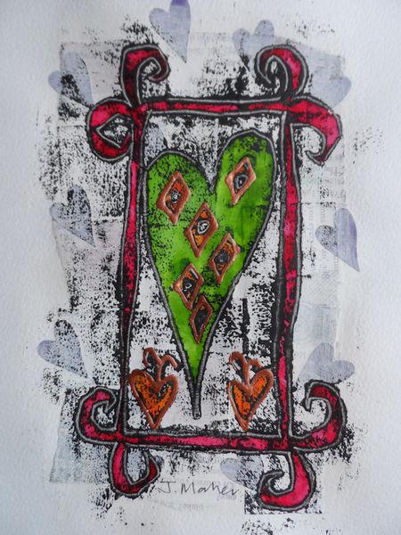 Green heart, red frame