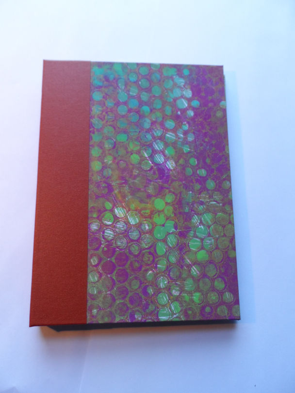 Hard back book with gelli print covers