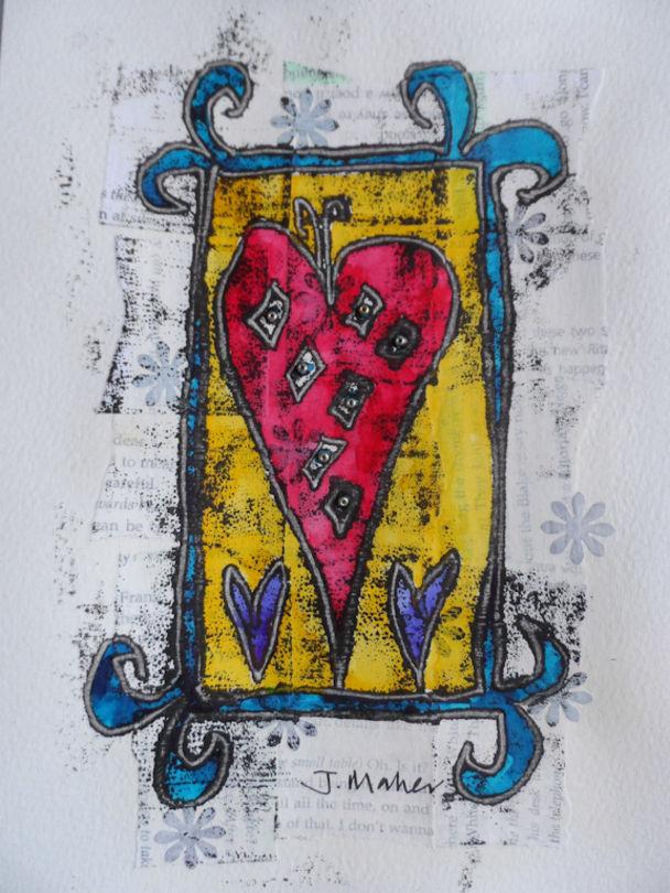 Red heart blue frame monoprint