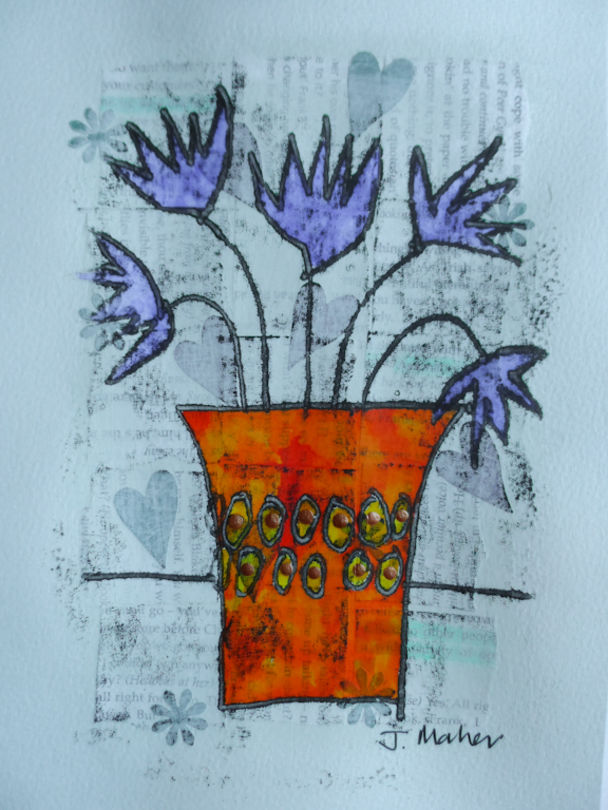 Blue flowers, orange vase
