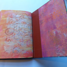 Hard back book of gelli print samples