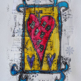 Red heart blue frame monoprint