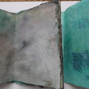 Paper cloth cover and hand dyed pages