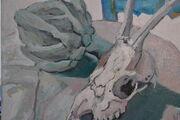 Goat Skull and Artichoke