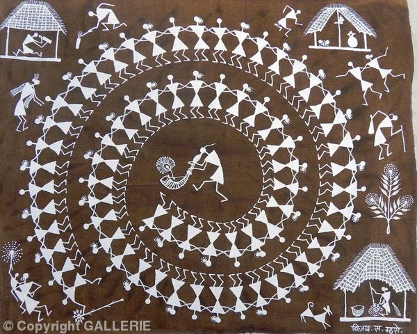 VSM -15,Indian Warli Tribal Art By Vijay Sadashiv Mashe,Size-17 X 14