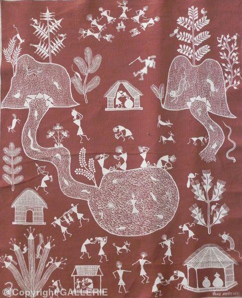 vsm 05,Indian Warli Tribal Art By Vijay Sadashiv Mashe,Size-29 x 23
