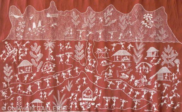 ssm 01,Indian Warli Tribal Art By Sunita Sadashiv Mashe,Size 36 x 56