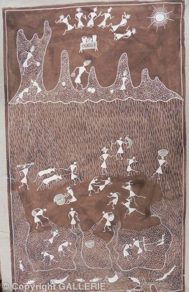 ssm 02,Indian Warli Tribal Art By Sunita Sadashiv Mashe,Size 34 x22