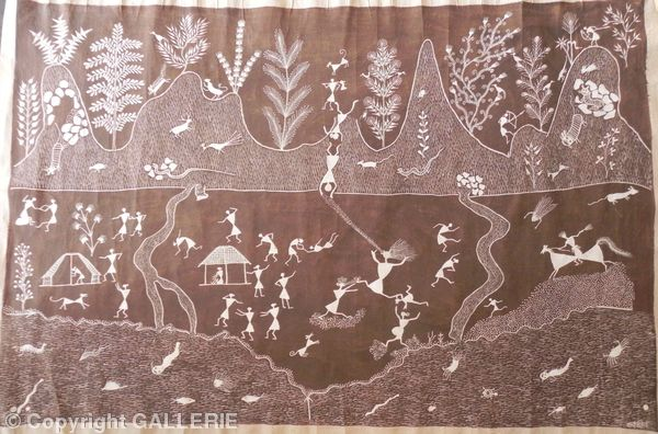ssm 04, Indian Warli Tribal Art By Sunita Sadashiv Mashe,Size 36 x 54