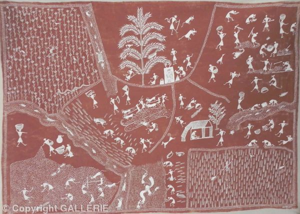 ssm 05,Indian Warli Tribal Art By Sunita Sadashiv Mashe,Size 47 x 34