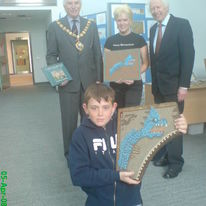 Presenting The Monster Mosaic to Harry, with the Mayor, and David Rudkin, FISHBOURNE ROMAN PALACE.