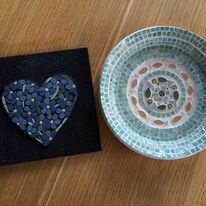Fish plate and Forget -me -not heart