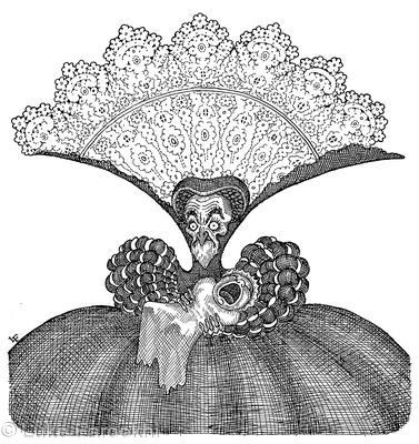 The Duchess was sitting on a three-legged stool in the middle, nursing a baby