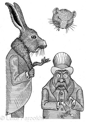 'Have some wine,' the March Hare said in an encouraging tone; 'Your hair wants cutting,' said the Hatter