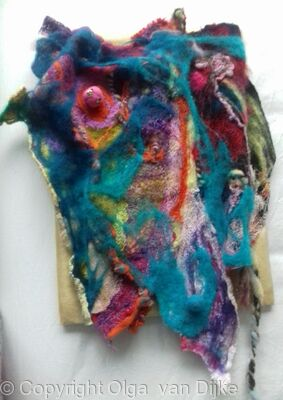 abstract felted textile hanging 2017
