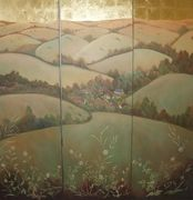 Gilded folding screen by Diane Brandrett
