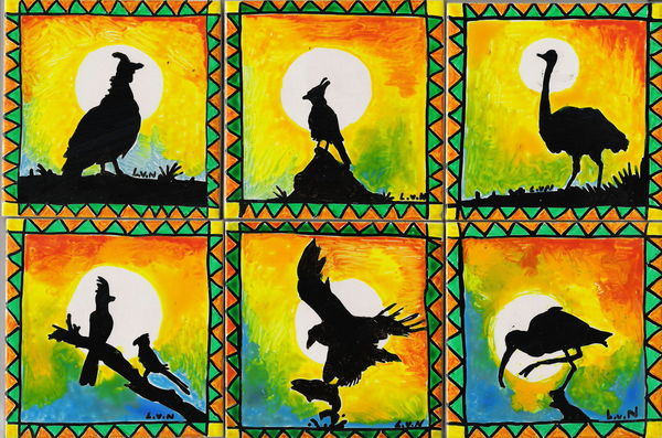 African Bird ceramic tile coasters