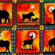 African Animal ceramic tile coasters