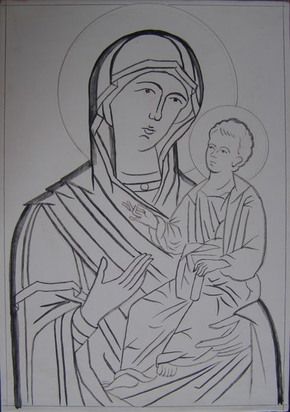 Brush drawing for Mother of God Icon October 2013 course