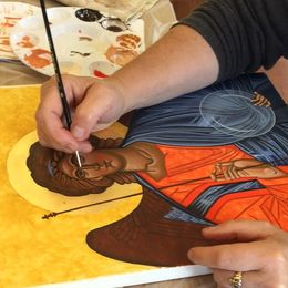 Student at work on Byzantine St Michael Icon