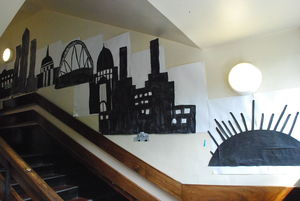 London landscape display at Drayton Park school