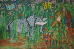 forest and animal painting by 8 years old child