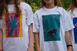 Children Wearing their own design and screen print T-shirts