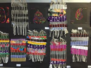Weaving with different materials by DPS students