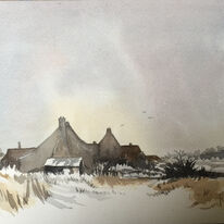 Norfolk in winter watercolour
