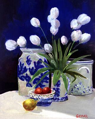 Blue Delft Tulips