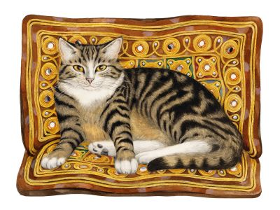 Tabby cat on cushion