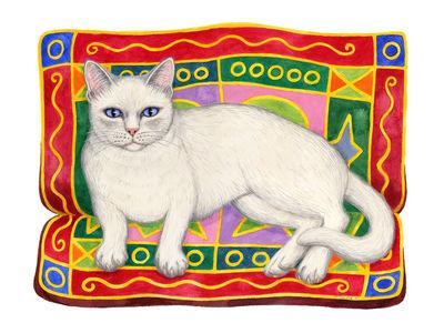 White cat on cushion