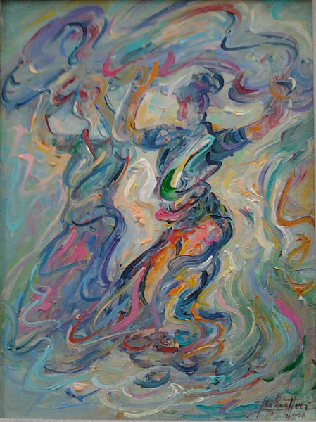 original painting - OIL ON CANVAS: INDIA DANCE by Tan Peng Hooi
