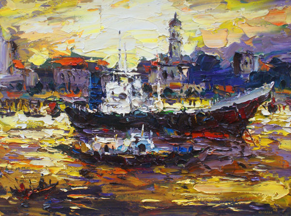 original Painting - OIL ON CANVAS: HARBOUR LIGHT by Loo Hooi Nam